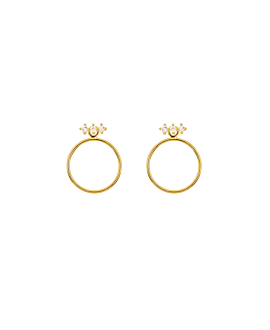 TOPAZ CIRCLE|Ear Jackets Gold