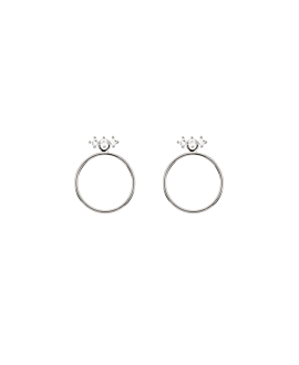 TOPAZ CIRCLE|Ear Jackets Silber