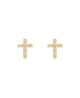 SPARKLING CROSS  Ohrstecker Gold