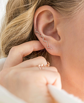 DIAMOND Ear Climber  Single 14K Roségold