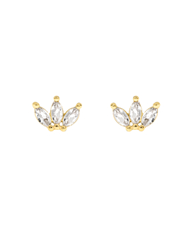 TOPAZ LEAVES  EAR STUDS GOLD