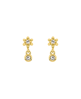 BLOOMY TOPAZ  EAR STUDS GOLD