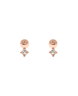 BALL TOPAZ  EAR STUDS ROSE