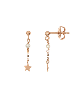 PEARLY STAR  EAR STUDS ROSE
