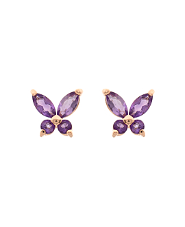 GEMMY BUTTERFLY  EAR STUDS ROSE