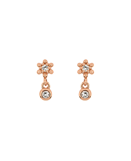 BLOOMY TOPAZ  EAR STUDS ROSE