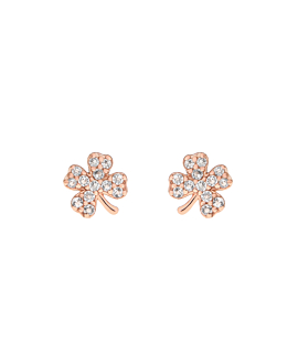 TOPAZ CLOVER  EAR STUDS ROSE