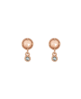 MOONSTONE CHARM  EAR STUDS ROSE
