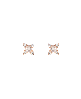 MOONSTONE SPARK  EAR STUDS ROSE