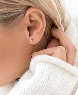 DIAMOND EAR STUD  14K ROSE GOLD