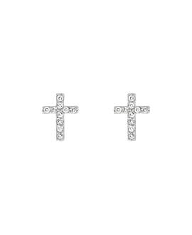 SPARKLING CROSS  EAR STUDS SILVER