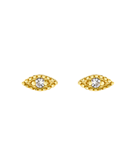 TOPAZ EYE EAR STUDS GOLD