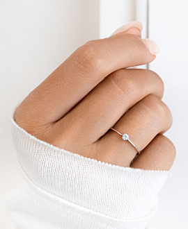 SOLITAIRE RING 14K WHITE GOLD
