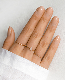 LETTER RING 14K ROSE GOLD