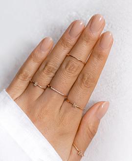 LETTER Ring E  10K Roségold