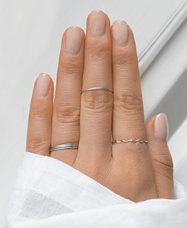 SMOOTH TRIPLET RING SET SILVER