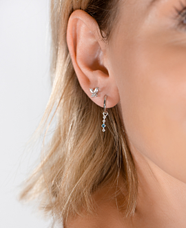 GEMMY BUTTERFLY EAR STUDS SILVER