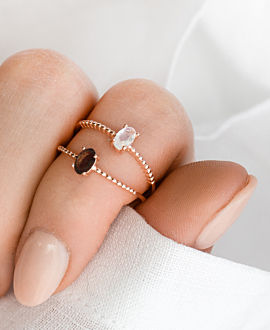 SMOKEY QUARTZ  RING ROSE