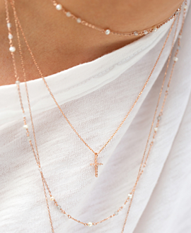 SPARKLING CROSS  NECKLACE ROSE