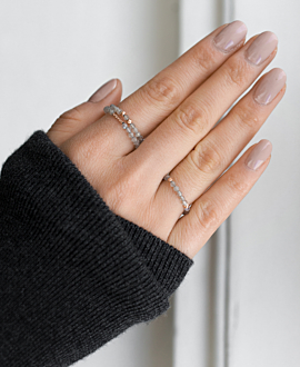 BAR STONE Ring Grau