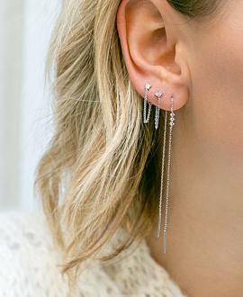 SPARKLING STAR Ear Jackets Silber