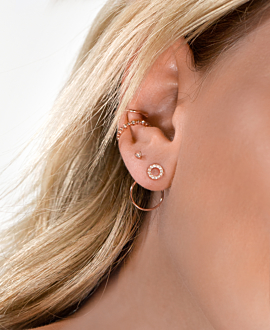 TOPAZ CIRCLE Ear Jackets Rosé