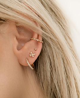 TOPAZ CLOVER  EAR STUDS ROSE