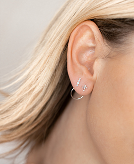 TOPAZ CROSS  Ear Jackets Silber
