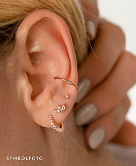 TOPAZ LEAVES  EAR STUDS SILVER