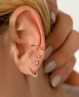 TOPAZ LEAVES  EAR STUDS ROSE