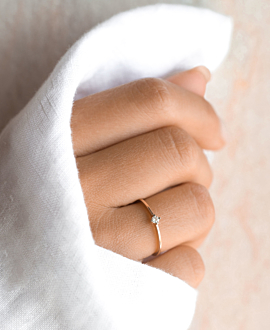 SOLITARY RING 14K ROSE GOLD